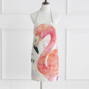 Hign quality Flamingo linen cotton apron custom print of kitchen