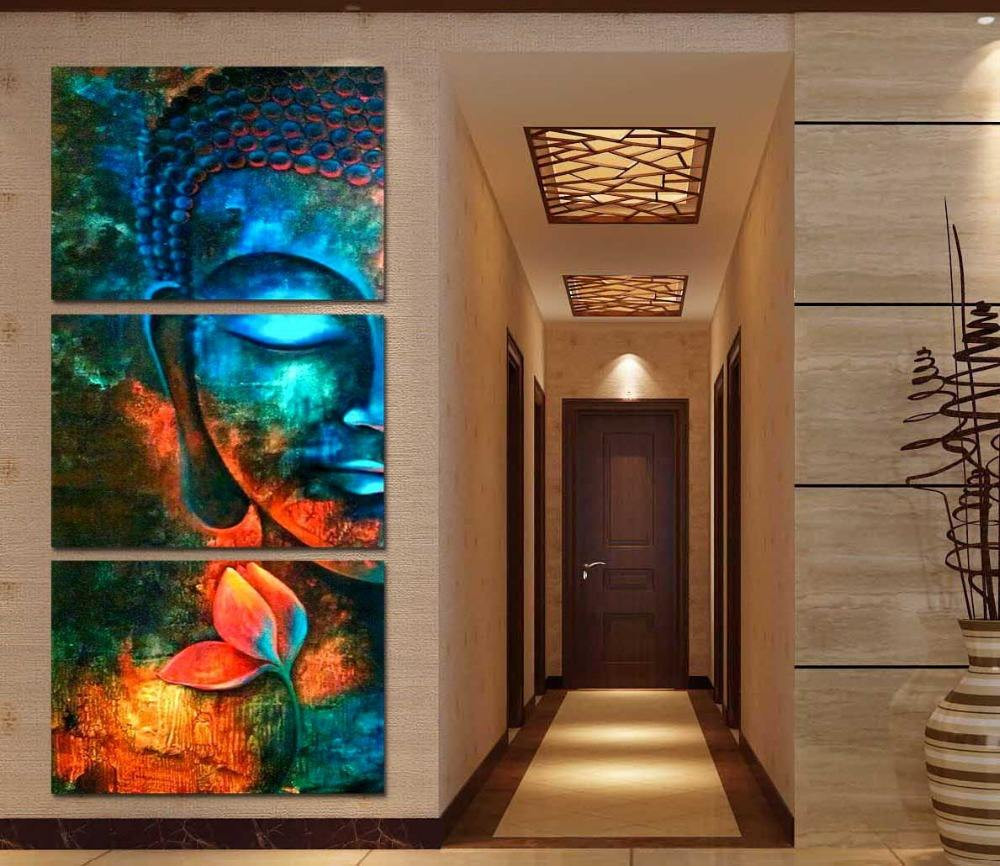 3 Pieces Modern Buddha Painting Home Goods Wall Art Painting Wall Pictures Home Decor Wall Decoration Painting on Canvas