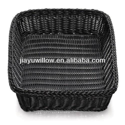 linyi polyrattan round bread basket black wicker basket