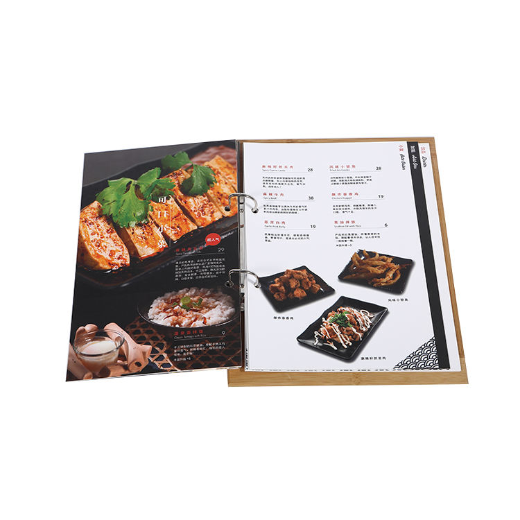 Cheap restaurant flip menu book printing
