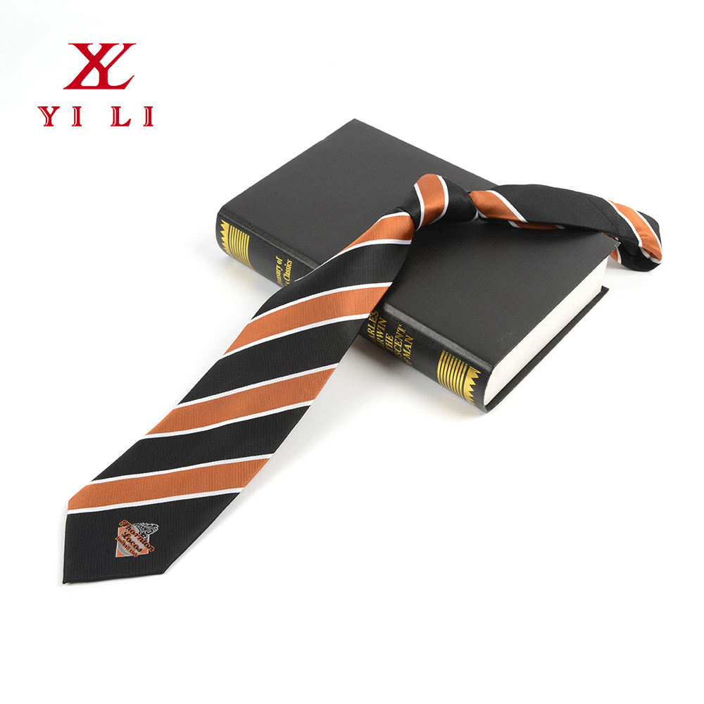 Fashion design elegant eco-friendly polyester school custom logo tie