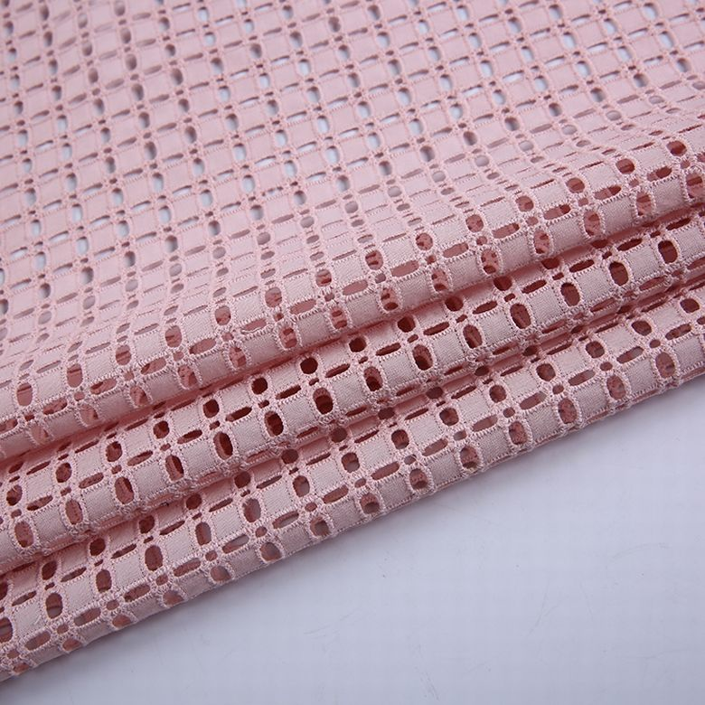 Custom wholesale design cotton eyelet embroidered mesh fabric voile cotton