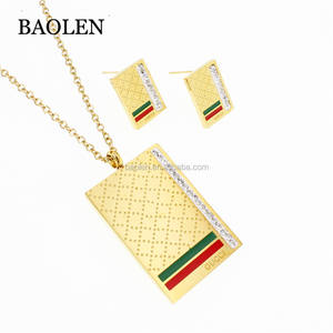 Dubai Stainless Steel Gold Plated Hippie Christian Bulk Red Green Pattern Jewelry Set