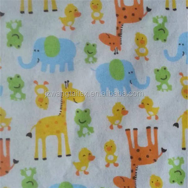 animal printed super soft flannel fabric of 100% cotton material