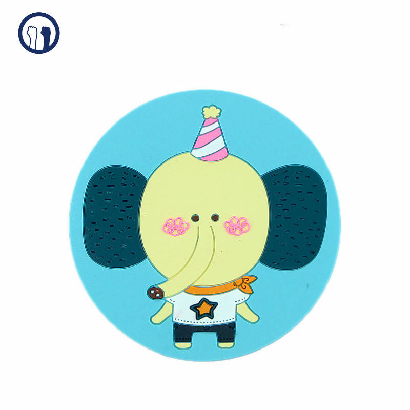 Elephant cup coaster pvc cup coaster cartoon cup coaster with custom package support 2D 3D design services