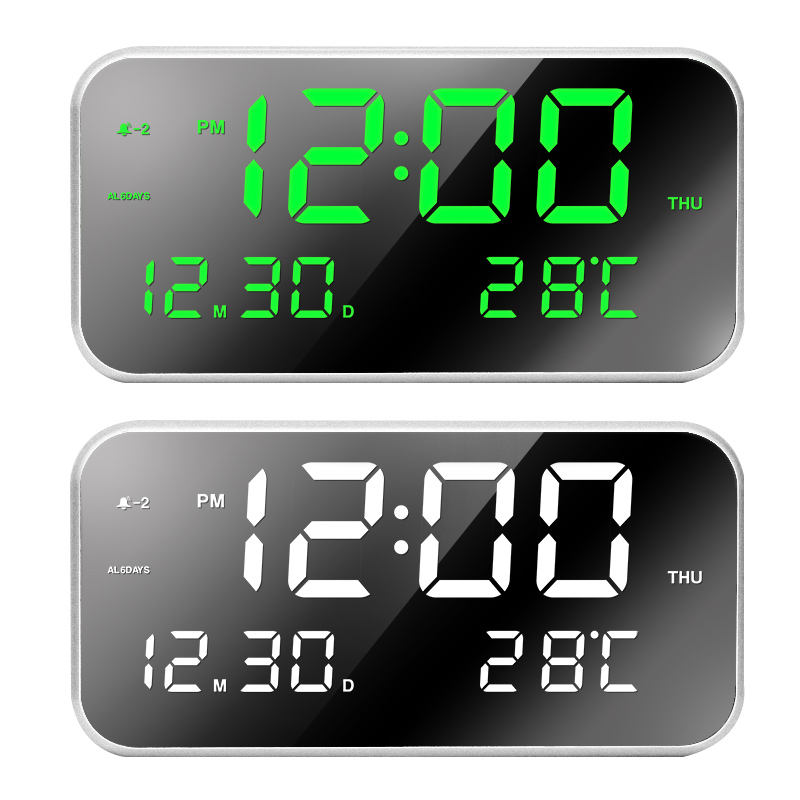 2019 fashion digital LED mirror temperature display table desk clock 3 alarm volume settings