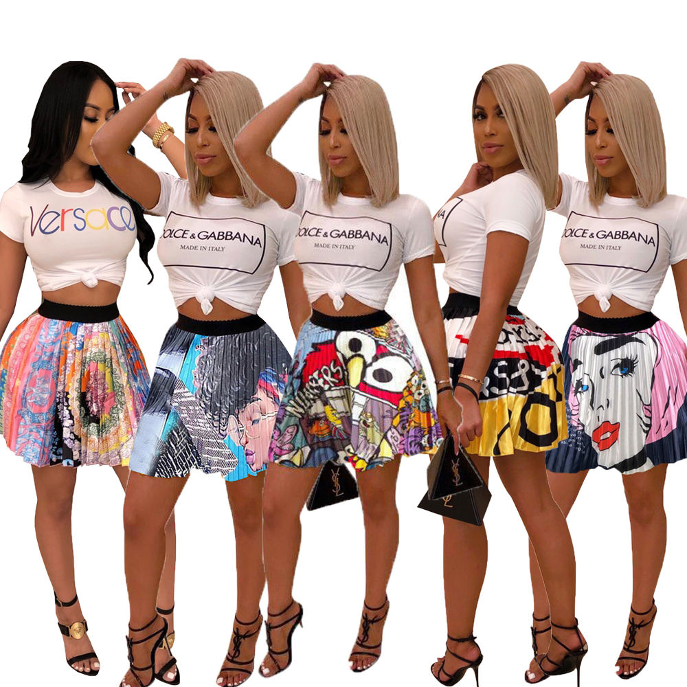 SAZ022 drop shipping fashionable cartoon print high waist sexy lady colorful mini pleated skirt