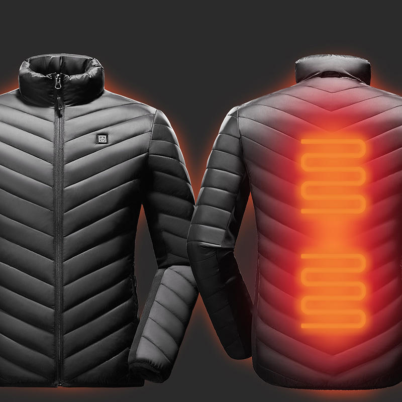 winter custom new black nylon windproof smart heating jacket thermal battery powered usb self heated work puffer jacket for men
