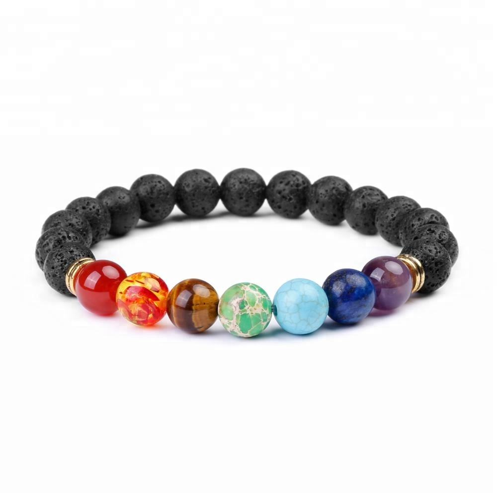 Men Women Lava Rock 7 Chakra Essential Oil Diffuser Natural Stone Bracelet