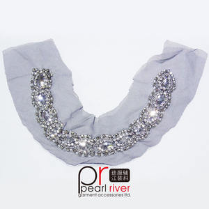 Resin Strass Kralen Hals Applicaties/Borduren Kralen Hals Motief/Handgemaakte Hars Hals Trim Naaien Op Kleding