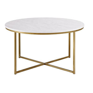 Gold metal X-base round marble top coffee tables