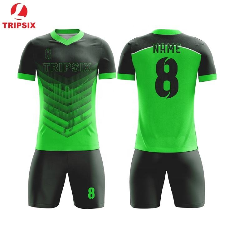 China Imported Black Green Polyester Soccer Jersey For Men