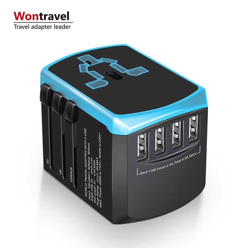 Travel Adapter 2000 W International Adapter All in One Universal Power Adapter Plug 4 Quick Charge usb-poort