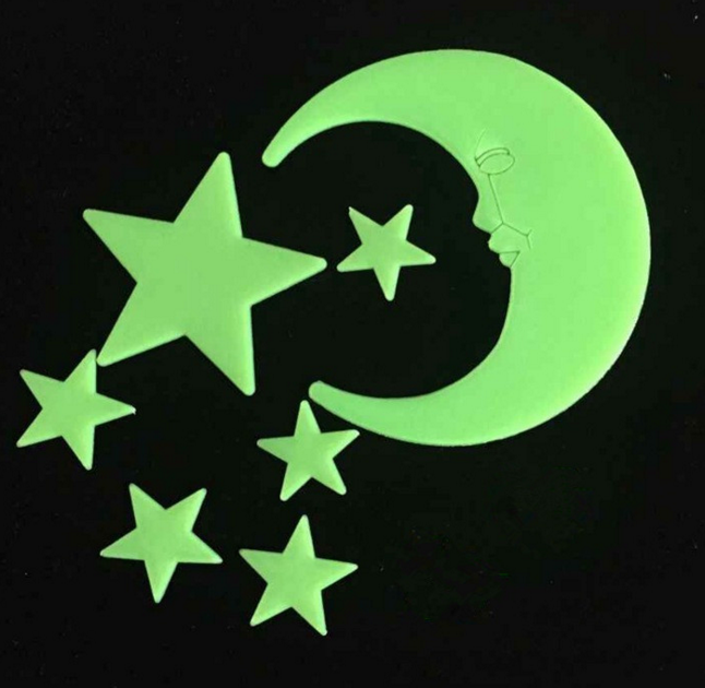 Glow stars and moons/Removable Wall Stickers glow in the dark for baby room decoration,romantic gifts suitable for all festivals