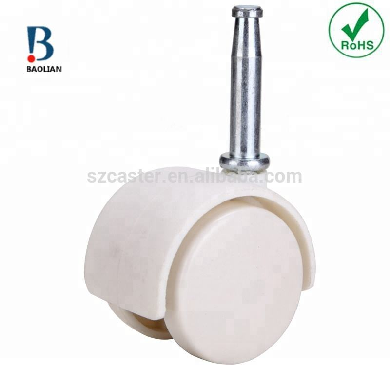 "RoHS standard china hot 1"" white roller ball removable nylon furniture caster wheels for baby bed"