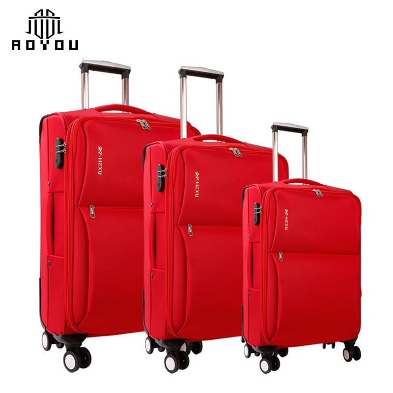 stock 3pcs luggage set 20 24 28inch Soft Luggage 4 universal wheels red suitcase