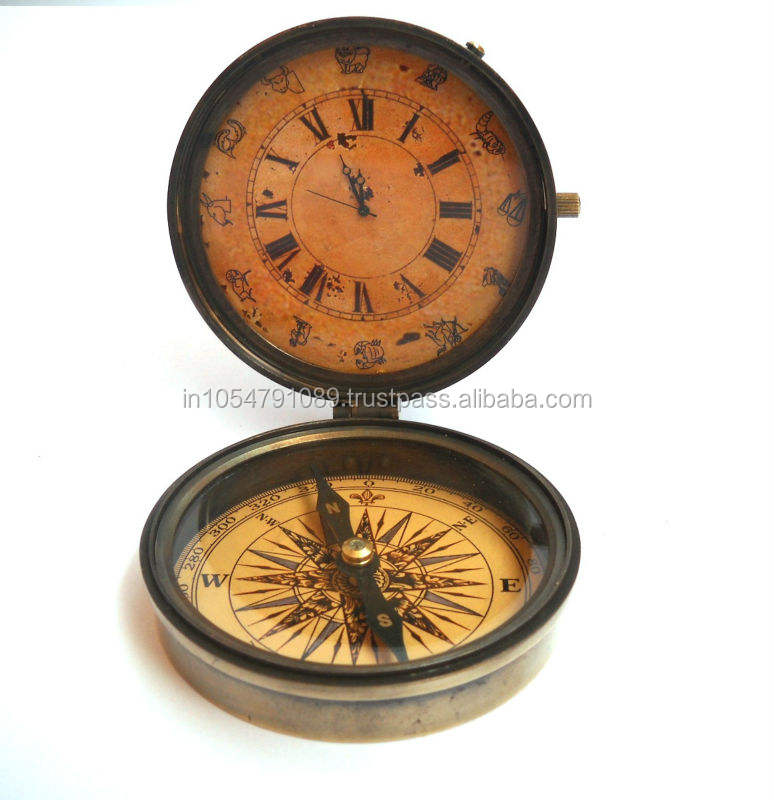 Nautical antique Brass Compass With Clock
