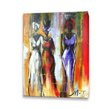 Handmade Women Photo Image Art Canvas Abstract African Oil Painting