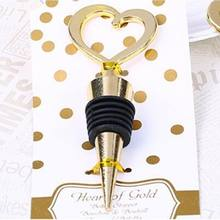 Love heart gold wedding wine bottle stopper gift giveaway