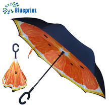 Windproof UV Protection Inverted Umbrella Inside Out Travel Umbrella for Car Rain Outdoor With C-Shaped Handle
