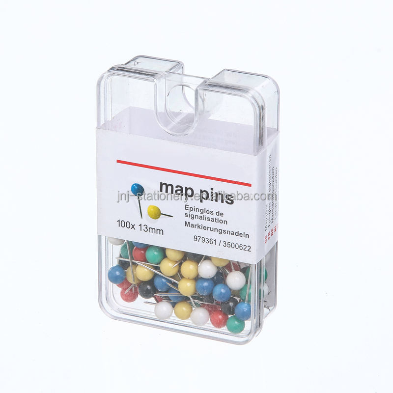 Multi colored office use metal map push pins