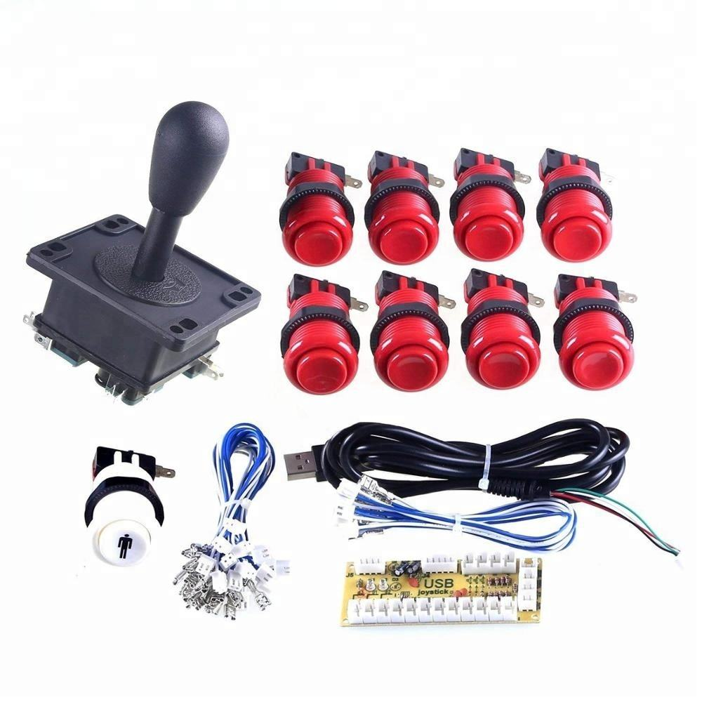 American style arcade joystick controller kit switch push buttons USB encoder PCB board with wires DIY arcade parts kit