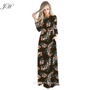 New Modest Women Clothing Floral Print Pocket Abaya Muslim Dresses in Dubai Long Sleeve Loose Swing Long Maxi Islamic Clothing