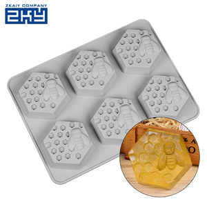 Reusable BPA Free handmade 6 cavities 3d Bee soap moulds honey Honeycomb shape Silicone Soap Molds
