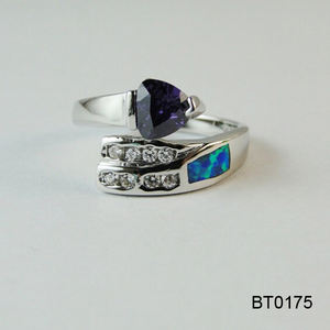 Alibaba Golden Supplier Adjustable AAA Single Heart Purple CZ Stone Copper Casting Jewelry Blue Opal Ring