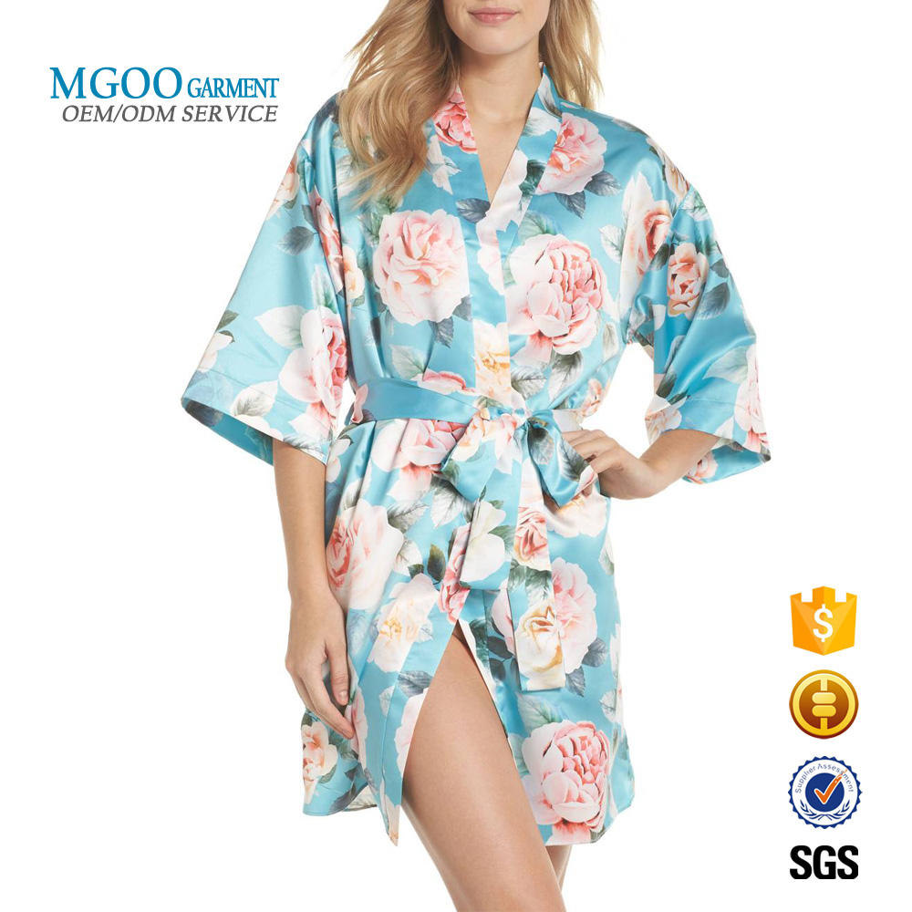 Sexy women silk satin sleep robe Custom rose print wrap short kimono bathrobe wholesale