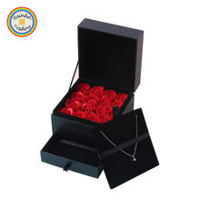 YWMY107 RDT Jewelry Shop Valentin's Day Promotion Gift 16pcs Romantic Soap Rose Flower with Squared Double Drawers Jewelry Box