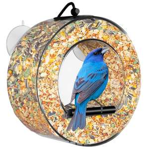 Custom Round Acrylic Circular Design Window Hanging Bird Feeder Wholesale Bird Seed Feeder for Sale