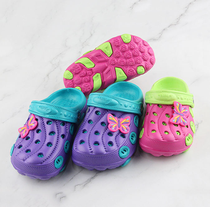 2019 Girls Cheap Lovely Animals EVA Clogs Children Butterfly drip plastic Assorted Colors Custom Logo Garden Shoes