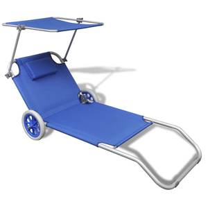 portable Foldable Sunbed Sun Lounger with Canopy and Wheels Outdoor Chaise Lounge Chair Grden Funiture