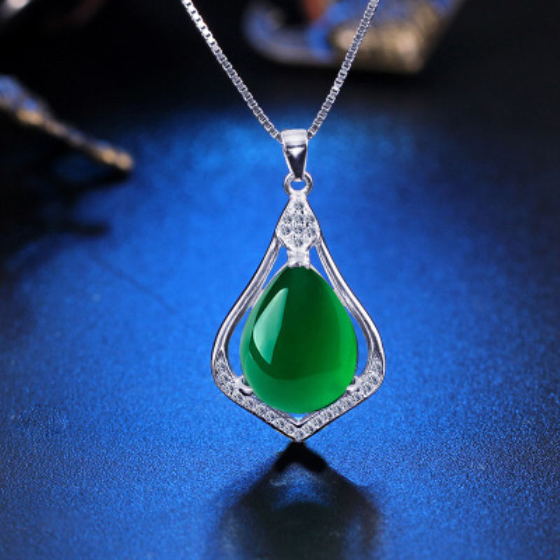 Body accessories Wholesale Fashion Jewelry 925 Silver Jade Oval Pendant For Women Jewelry, jewelry Body accessories