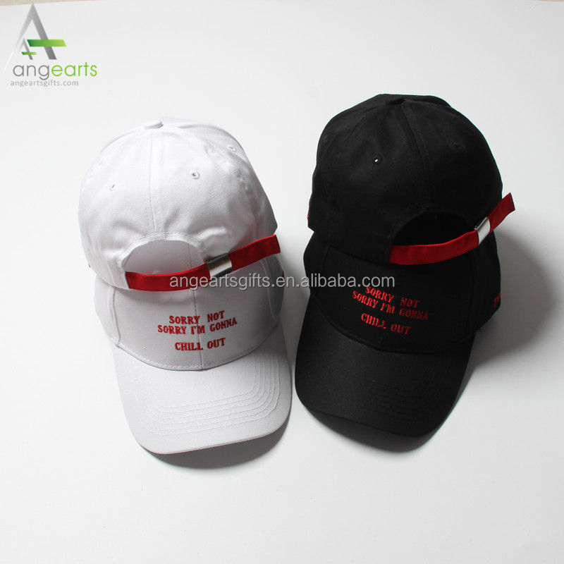 Ladies' white color summer hat fashion hat with embroidery plain blank dad cap/hat for women