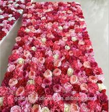 Customized Artificial Silk Wedding Roll Up Flower Wall Rose Backdrop