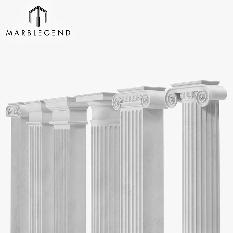 Decorative column natural stone white marble pilaster