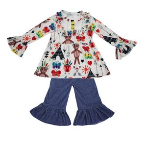 Adorable Kids Boutique Clothing Sets Toddler Girls Bear Printed Dressy Tunic Tops And Denim Ruffle Pants Outfits