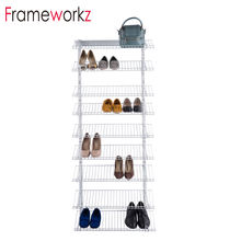 9 Tiers Stackable wall Shoe Rack Storage Shelves - Stainless Steel Frame Holds