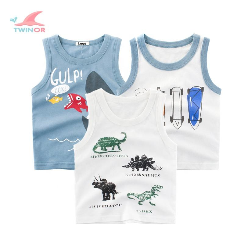 Wholesale custom summer cute pattern embroidered organic cotton baby vest