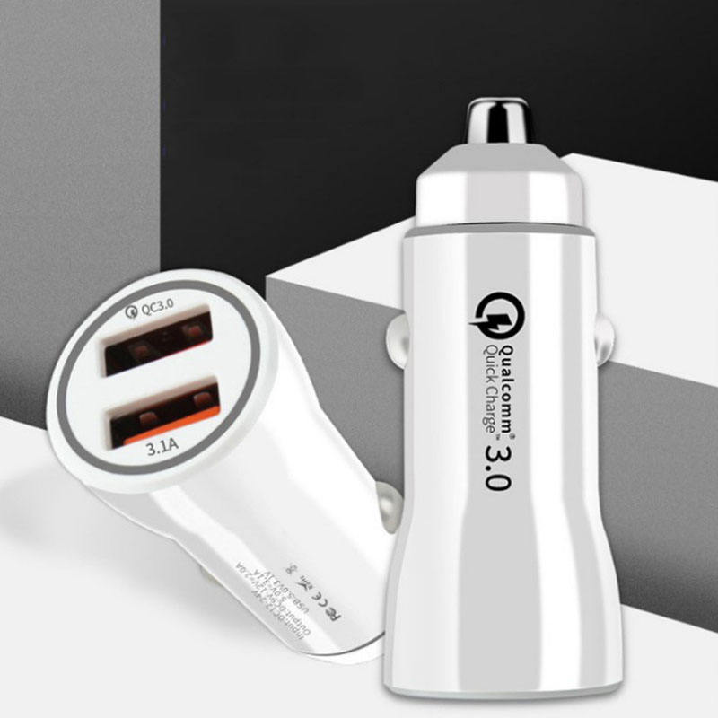 Baru QC 3.0 Charger Mobil Cepat Charger Dual USB Dual Port 3.1A QC 3.0 Charger Mobil