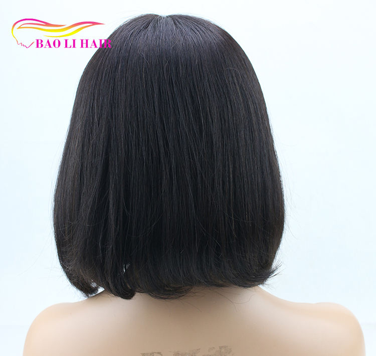 Baoli hair 100% mink glueless Brazilian remy human hair short bob top silk base lace front wig for sale for black women