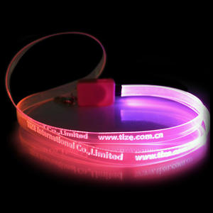 Hot Selling Cool Platte Led Light Up Lanyard Glow In The Dark Ketting Night Flashing