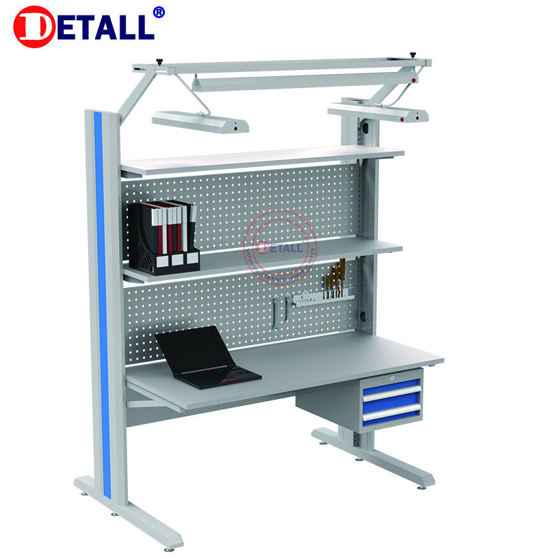 Detall esd assembly line working table workbench led lighting with drawer cabinet