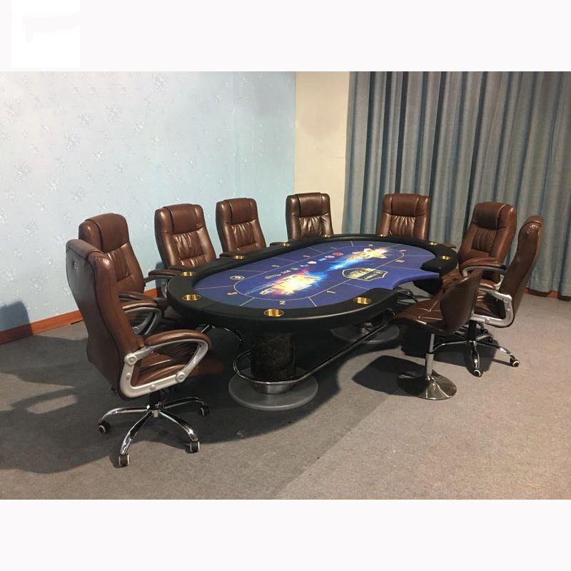 10 person luxury Texas hold'em oval casino poker playing card disc foot table