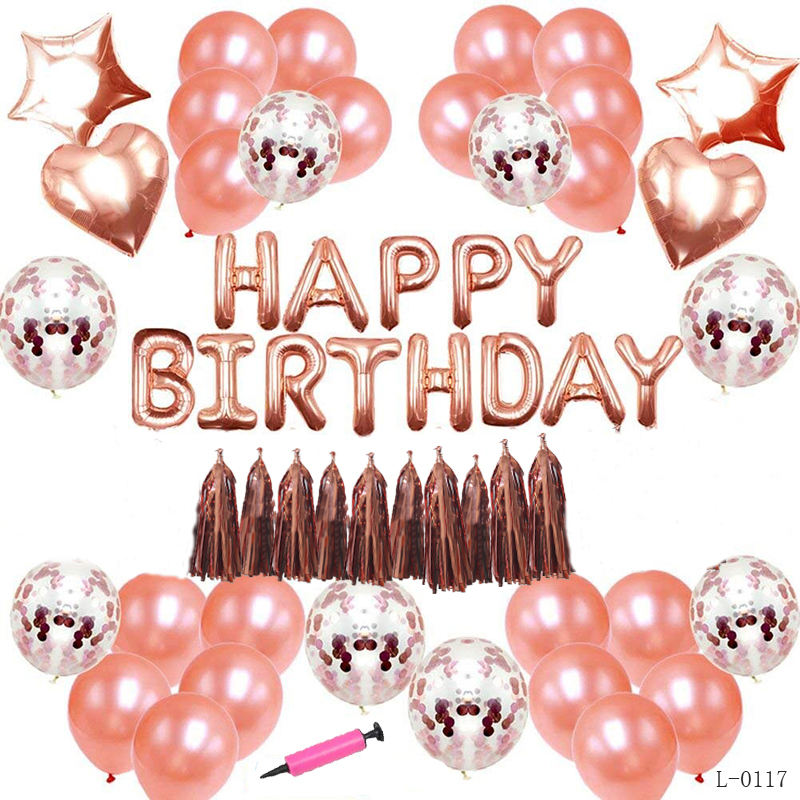 Birthday Party Supplies Rose Gold Party Decorations Rose Gold Confetti Balloons Banner Birthday Party Decorations Set