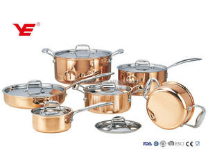 12pcs Triply copper stainless steel milano cookware set