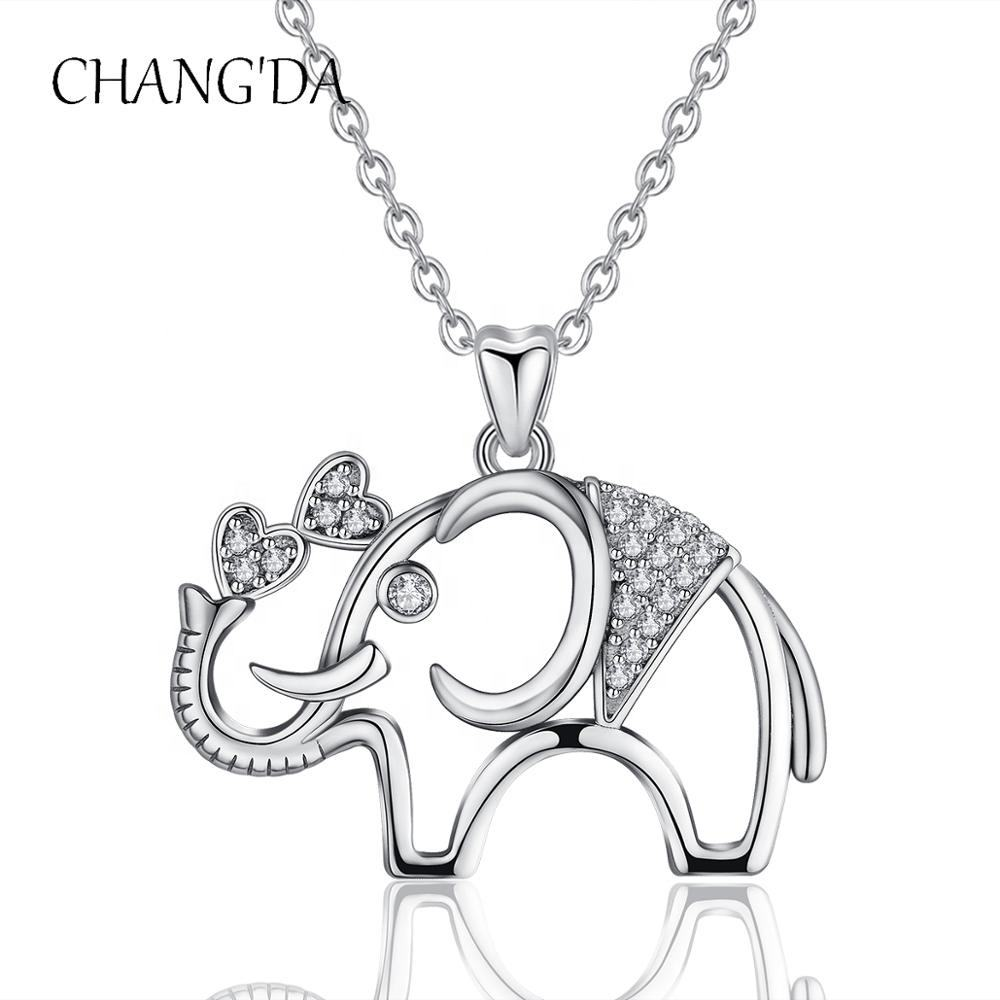 925 Sterling Silver Rhodium Cubic Zirconia thai Lucky elephant pendant for Women