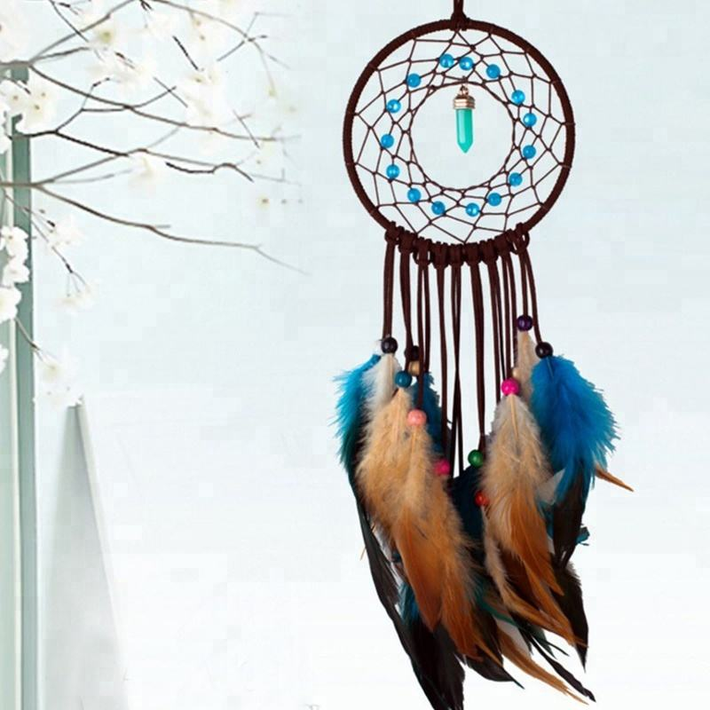 Factory New Design Handmade Blue With Brown Dreamcatcher With Feather Cheap Price Dream Catcher For Sale